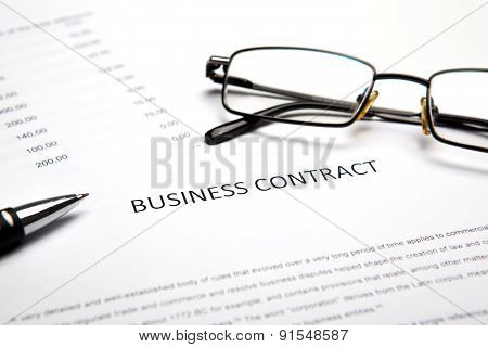 Business Still Life With Business Contract