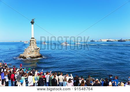 Sevastopol / Crimea - May 9, 2015: Parade On The Waterfront In Honor Of The 70Th Anniversary Of Vict