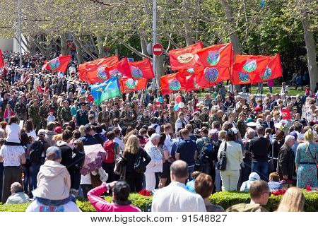 Sevastopol / Crimea - May 9, 2015: The Isevastopol / Crimea - May 9, 2015: People Are Columns In The