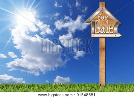 House For Sale - Wooden Sign With Pole