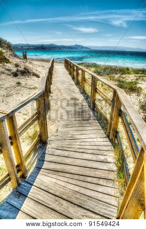 Wooden Boardwalk In Sardinia