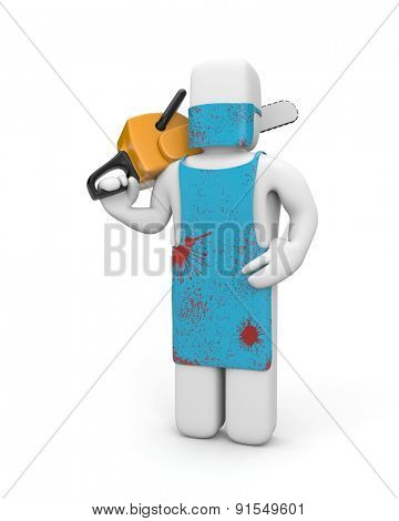 Man in the bloody apron hold chainsaw