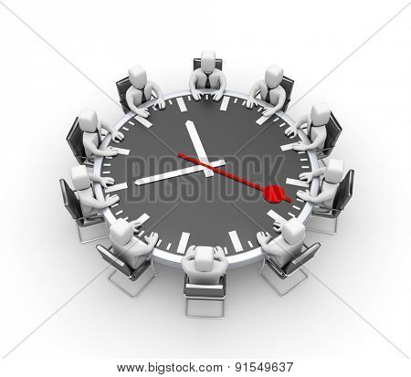 Meeting. Table in the form of clock