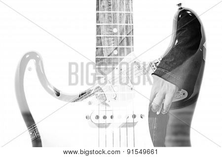 Guitar Player And Guitar Silhouette In Double Exposure Effect In Bw
