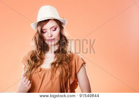 Lovely Girl In Summer Clothes Woman Tourist.