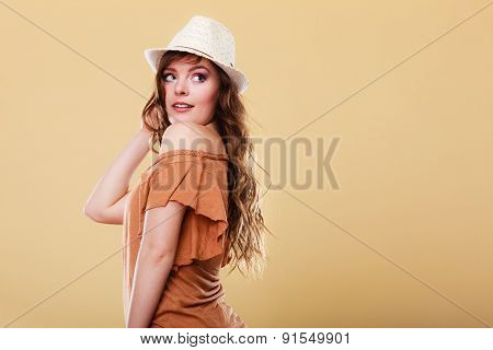 Lovely Girl In Summer Clothes Bright Straw Hat