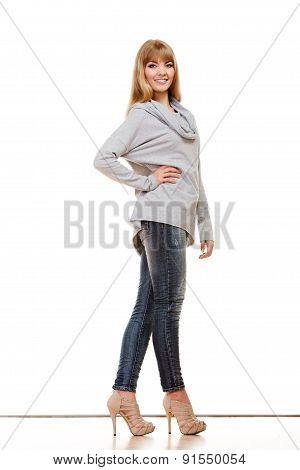 Blonde Fashionable Woman In Full Length