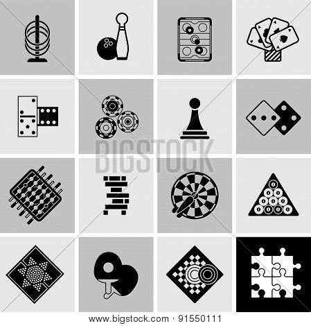 Games Black Icons Set