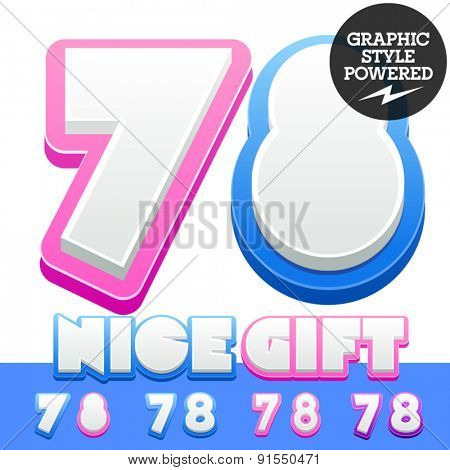 Vector cute alphabet for children. Nice white with blue  or pink letters and numbers for boys and girls. Numbers 7 8