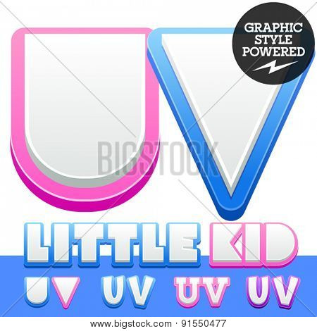 Vector cute alphabet for children. Nice white with blue  or pink letters and numbers for boys and girls. Letters U V