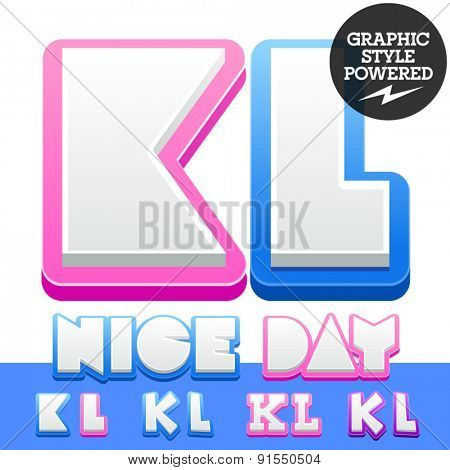 Vector cute alphabet for children. Nice white with blue  or pink letters and numbers for boys and girls. Letters K L