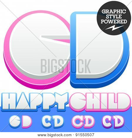 Vector cute alphabet for children. Nice white with blue  or pink letters and numbers for boys and girls. Letters C D