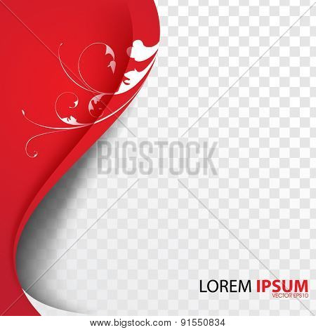 white floral silhouette wave red flowing lines swirl on checkered background eps10 vector