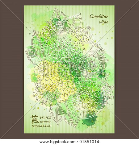 Vector template poster with watercolor paint. Ink floral abstract background.