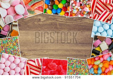 Frame photos of candies and jellies on a wooden table