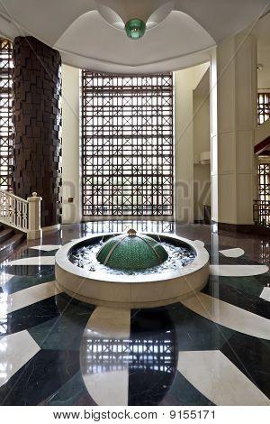 Hotel Lobby With Fountain