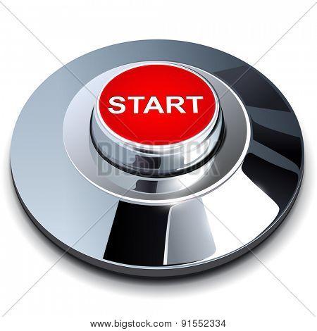 Start button, 3d red chrome metallic