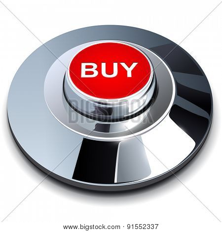 Buy button, 3d red chrome metallic