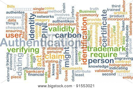 Background concept wordcloud illustration of authentication