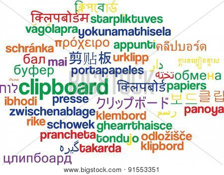 Background concept wordcloud multilanguage international many language illustration of clipboard