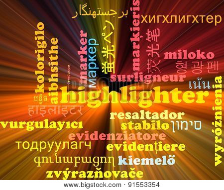 Background concept wordcloud multilanguage international many language illustration of highlighter glowing light
