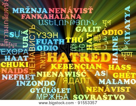 Background concept wordcloud multilanguage international many language illustration of hatred glowing light
