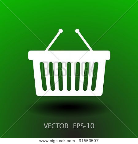 Flat  icon of shopping basket