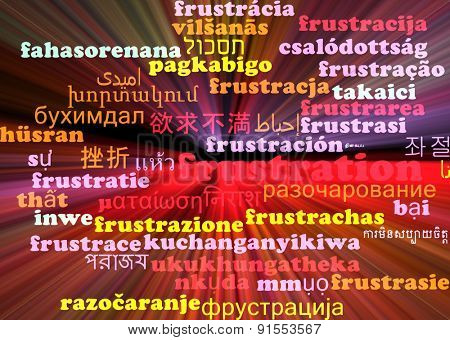 Background concept wordcloud multilanguage international many language illustration of frustration glowing light