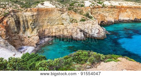beautiful beaches of Greece - Tsigrado, Milos island