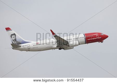 BUDAPEST, HUNGARY - MAY 7: Airliner of Norwegian air shuttle at Budapest Liszt Ferenc Airport, May 7th 2013. Norwegian is the third largest low-cost carrier in Europe