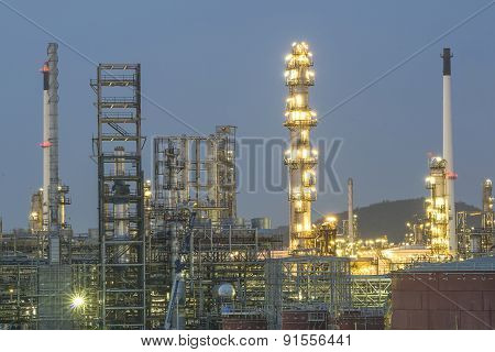Oil And Gas Refinery In Night, Thailand