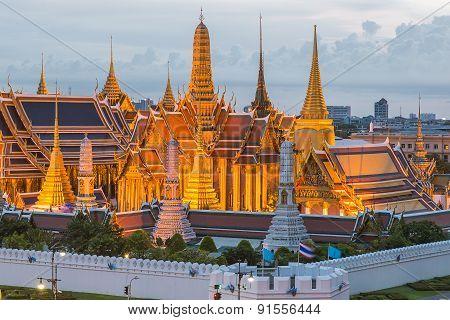 Wat Phra Kaew At Night In Bangkok, Thailand