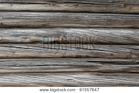 Old Rough Log Wall Background