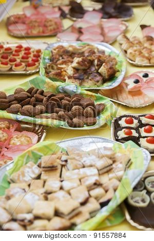 Buffet table with sweets and candy. Children's holiday.