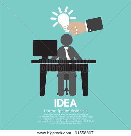 Businessman With A Light Bulb Idea Concept.