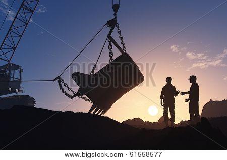 Excavators working in the quarry.