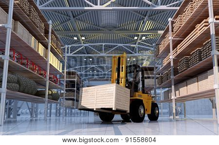 Cargo truck at the warehouse.