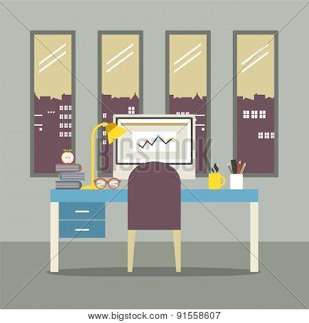 Modern Flat Design Workplace.