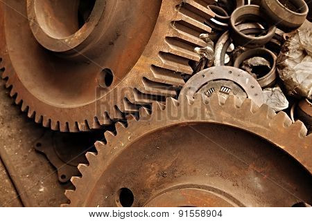 Old rusty gears of a steel machinery