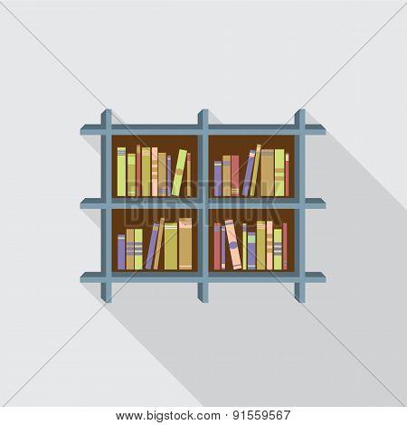 Flat Design Bookshelf On Wall.