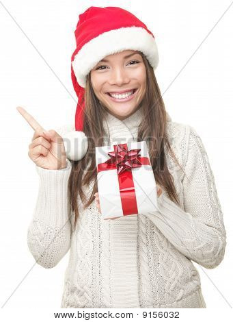 Christmas Woman Showing Copy Space