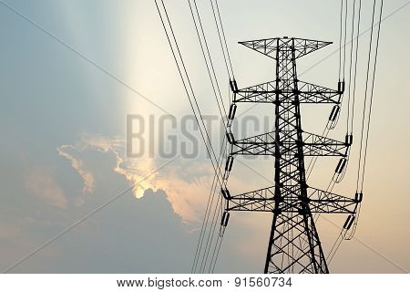 Silhouette Of High Voltage Electric Tower