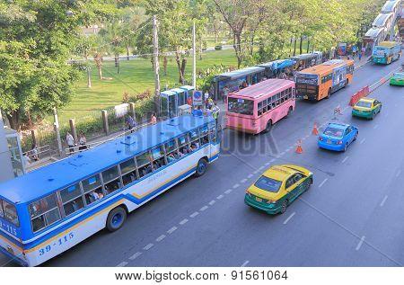 Bangkok bus traffic