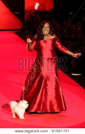 NEW YORK-FEB 12: Star Jones wears B Michael America at Go Red for Women-The Heart Truth Red Dress Collection at Mercedes-Benz Fashion Week at Lincoln Center on February 12, 2014 in New York City.