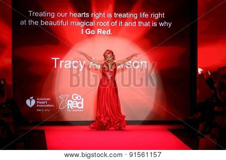 NEW YORK-FEB 12: Fitness entrepreneur Tracy Anderson wears Ina Soltani at Go Red for Women-The Heart Truth Red Dress Collection at Mercedes-Benz Fashion Week on February 12, 2015 in New York City.