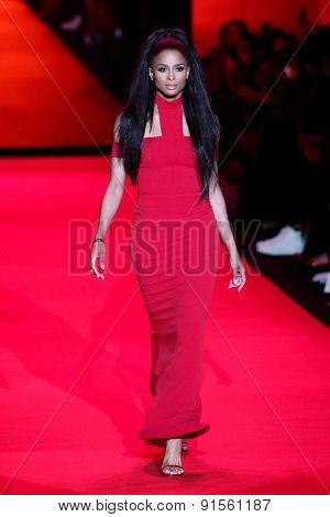 NEW YORK-FEB 12: Singer Ciara wears Safiyaa at Go Red for Women-The Heart Truth Red Dress Collection show during Mercedes-Benz Fashion Week at Lincoln Center on February 6, 2014 in New York City.