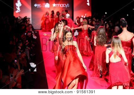 NEW YORK-FEB 12: Actress Zendaya walks the runway at Go Red for Women-The Heart Truth Red Dress Collection at Mercedes-Benz Fashion Week at Lincoln Center on February 12, 2015 in New York City.