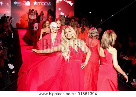 NEW YORK-FEB 12: Actress Laverne Cox walks the runway at Go Red for Women-The Heart Truth Red Dress Collection at Mercedes-Benz Fashion Week at Lincoln Center on February 12, 2015 in New York City.