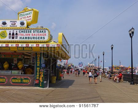 Boardwalk at Seaside Heights at Jersey Shore in New Jersey