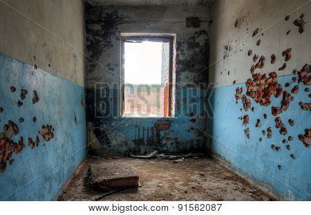 Room in a ruined building